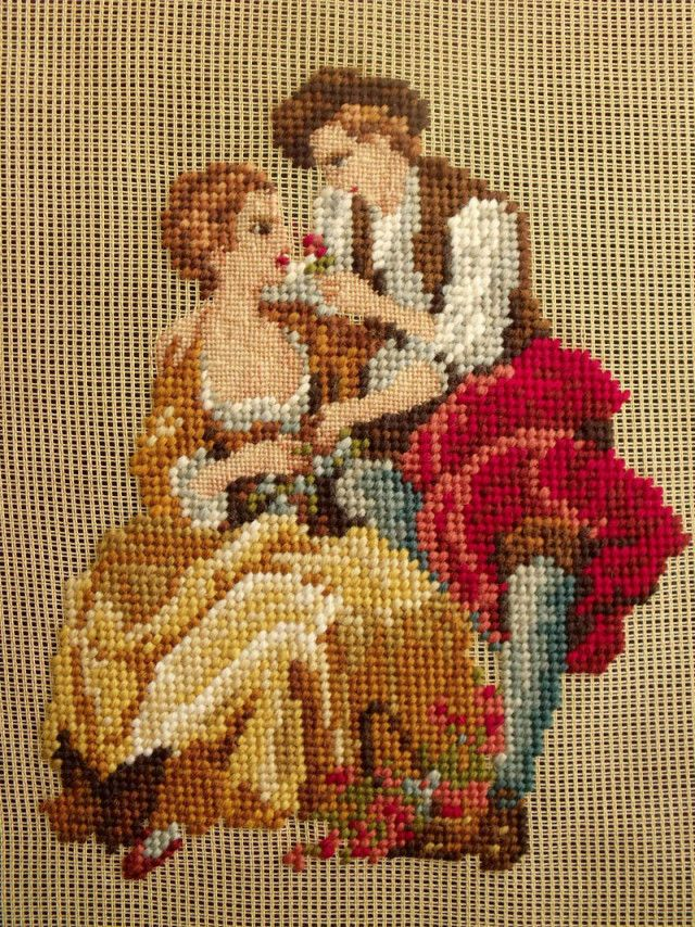 Vintage PREWORKED Needlepoint Canvas ~Victorian Lovers Lady Figural Flower RARE! #handmade #Handpainted