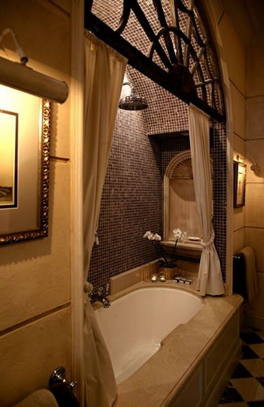 Another style canopied bath alcove ... I WANT a bath alcove  :)
