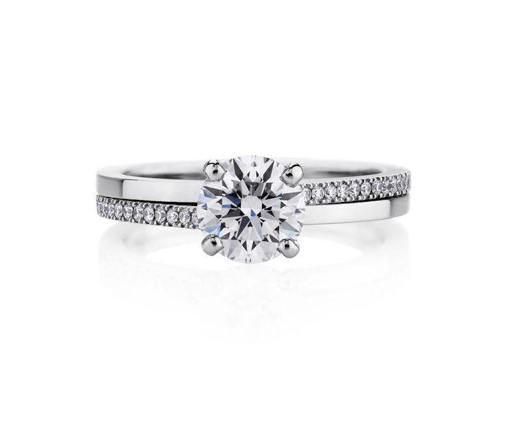 デュオ シャンクのプラチナ バンド リングにツイストを施した優美なリング。 *エンゲージリング 婚約指輪・デビアス*
