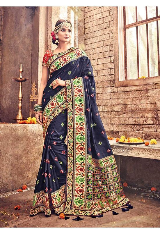 e814784c8e Banarasi Silk Wedding Saree With Meenakari Weave In Blue Color |  Deessamn3911 | Dees Alley