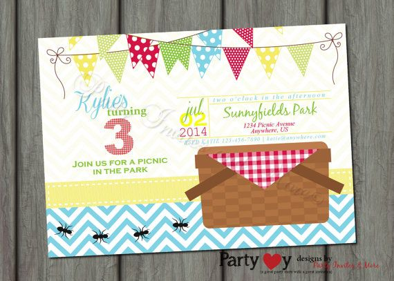 Picnic Birthday Invitation, Picnic Invitation, Red Gingham Invitation, Wood and…