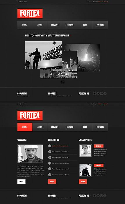 79 best one page website templates images on pinterest templates template 43426 fortex industrial website template pronofoot35fo Choice Image