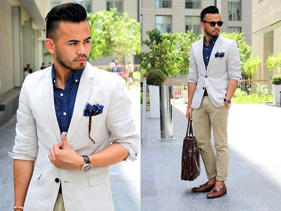 H&M Linen Blazer, American Eagle Outfitters Polkadot Shirt, American Eagle Outfitters Khaki Pants, Dapper Dubai Shop Pocket Square, Iconic Tassel Loafers
