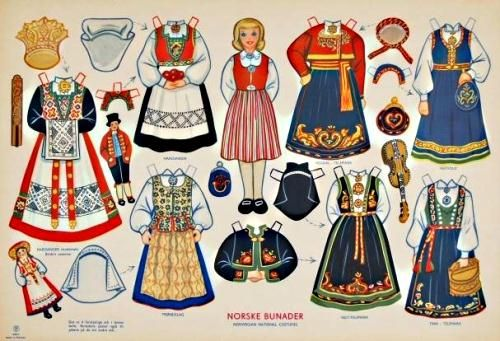1950`s Norske Bunader Paper Doll - Norwegian National Costumes - by National Museum Of Play Online Collections  --          A beautiful vintage dress up paper doll preserved and shared by National Museum Of Play Online Collections. This is a 1950`s Norske Bunader Paper Doll, with Norwegian National Costumes.