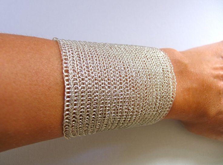 Adjustable silver cuff bracelet Handmade  cuff bracelet Wire crochet  bracelet  Extra wide cuff Metal silver  cuff by KvinTal on Etsy