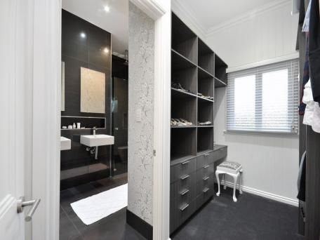 walk in robe, ensuite, colours, dark timber, white