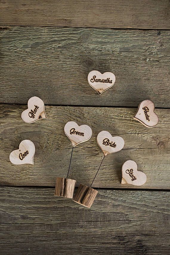 silver heart wedding place card holders%0A    Wood name cards Wooden wedding place cards Wood escort