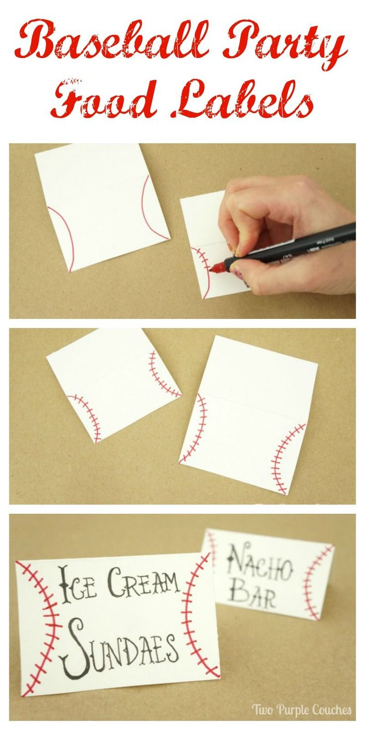 Easy step-by-step tutorial on how to make baseball food labels. Cute DIY craft idea for a sports themed party!
