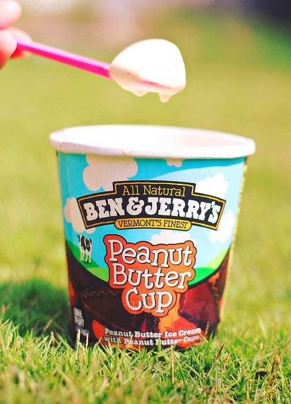 ben & jerry's peanut butter cup ice cream. This cures every bad or sad mood. Ben, Jerry, & I have gotten through lots of things together. :) lol