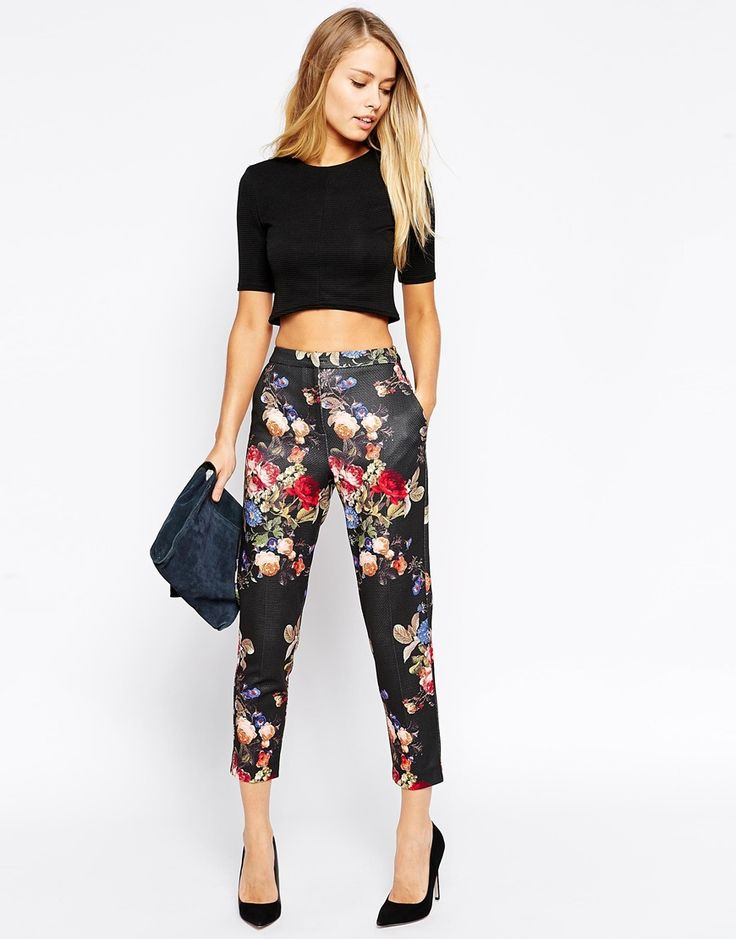 Image 1 of ASOS Skinny Cigarette Trousers in Floral Print