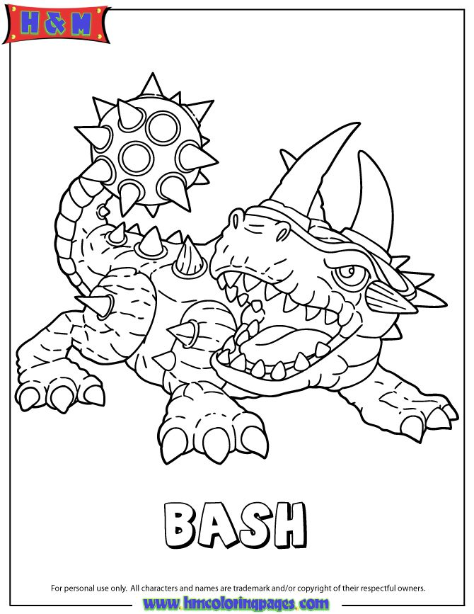 skylanders giants bash coloring page - Skylander Coloring Pages Tree Rex