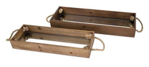 "Concepts Eden Wood Decorative Trays - Set of 2 3-3.25""""h x 25-29.25""""w x 6.5-7.5"""""