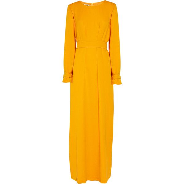 Jil Sander Silk-crepe dress (£535) ❤ liked on Polyvore featuring dresses, gowns, yellow, jil sander, marigold, yellow ball gown, yellow orange dress, yellow evening dress, sunflower print dress and loose fit dress