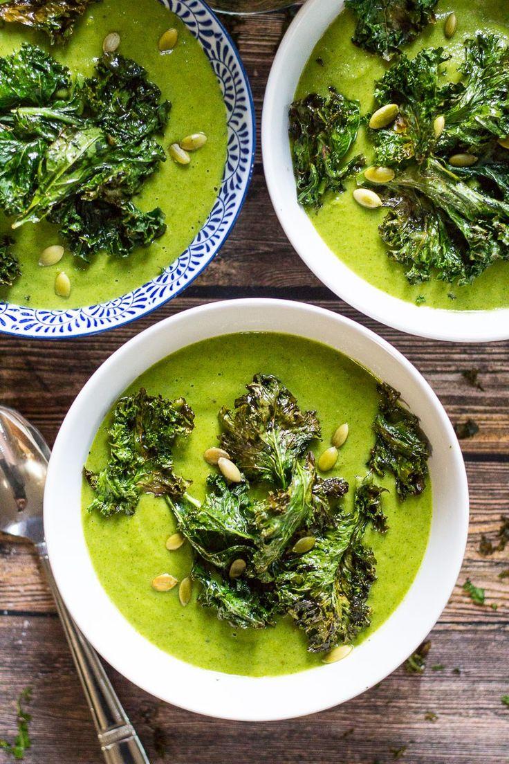 Green Goddess #Vegan Broccoli Soup + Kale Chips #glutenfree | The Girl on Bloor