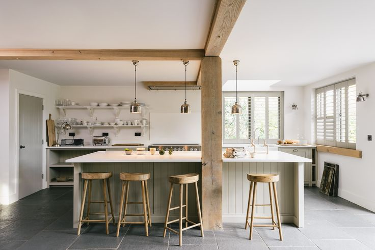 A contemporary family kitchen using simple cupboards from deVOL's Real Shaker range