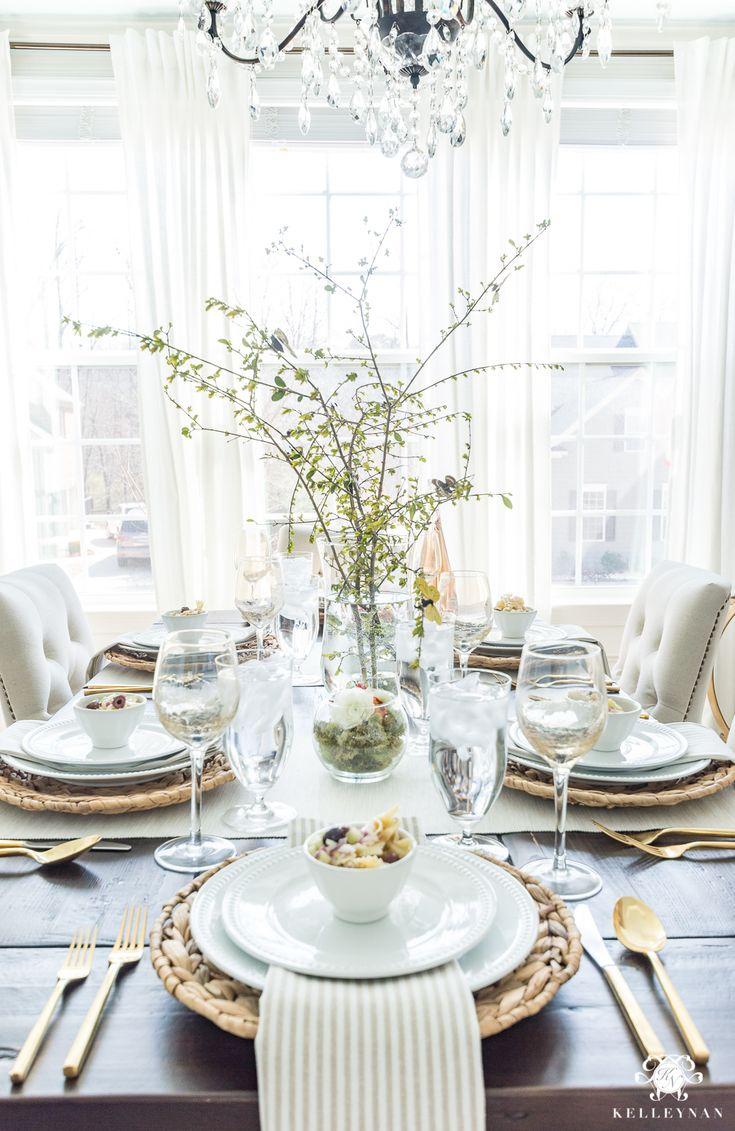 Einfache Frühlingsparty-Tischidee mit Schmetterlingen #tablescape #springtable #partyide …