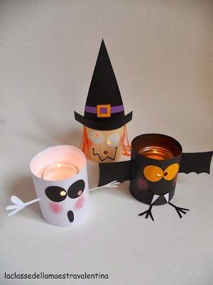 lanterne d'halloween en pot en verre et papier, fait main