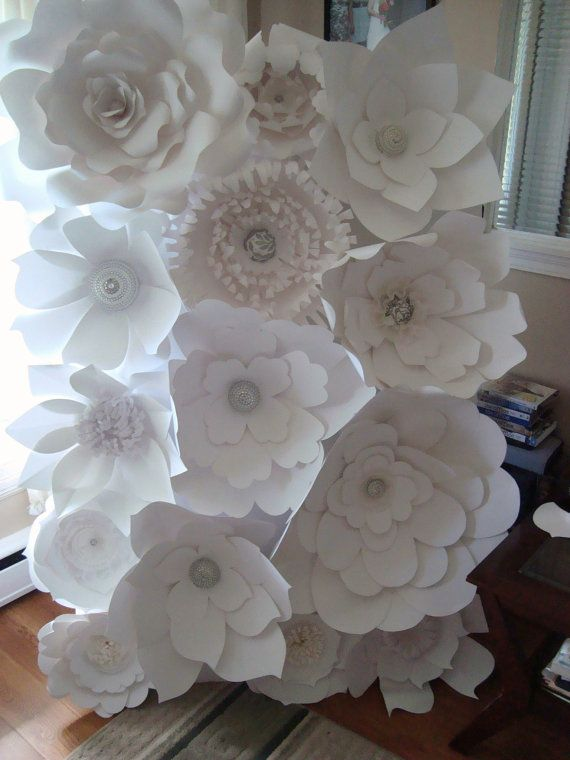 diy paper flower backdrop  white