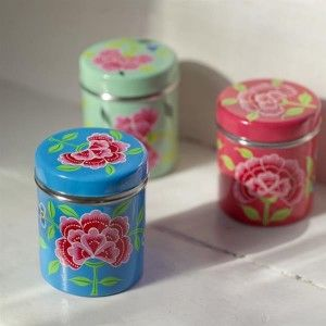 FRANJIPANI floral tins. Designed by Nkuku. Available on www.darwinshome.com