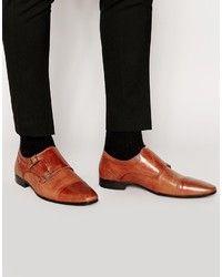 Zapatos con Doble Hebilla de Cuero Marrónes de Asos