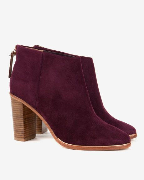 Leather heeled ankle boots - Purple   Shoes   Ted Baker