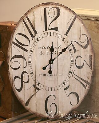 VINTAGE STYLE OVAL WALL CLOCK Large ANTIQUE STYLE Gallery DISTRESSED WHITE Decor
