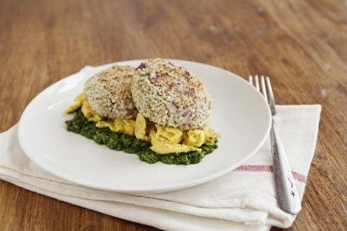 Naturally Ella   Quinoa Patties with Eggs and Spinach Pesto   Naturally Ella