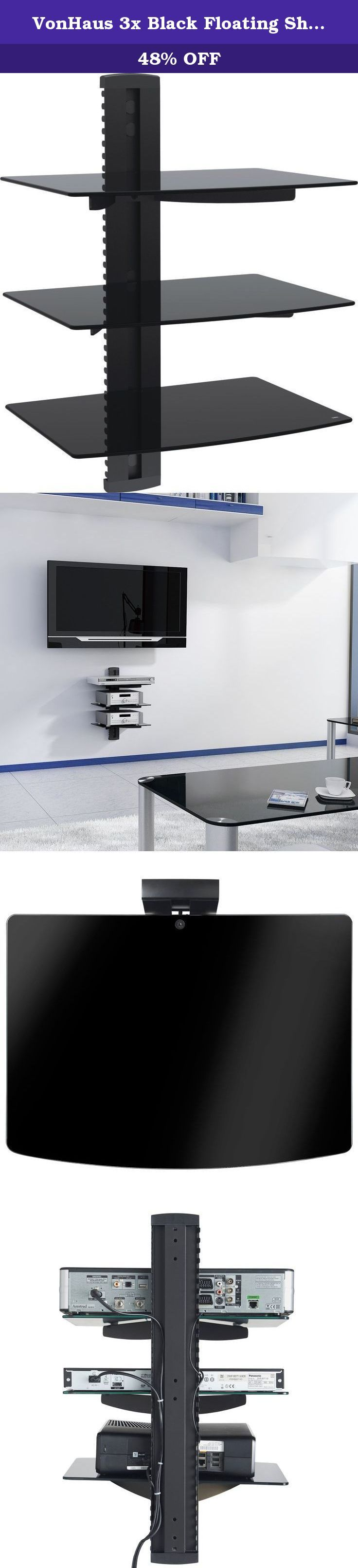 VonHaus 3x Black Floating Shelves with Strengthened Tempered Glass for DVD Players/Cable Boxes/Games Consoles/TV Accessories. These Floating Glass TV Accessory Shelves are designed to support your entertainment accessories such as: DVD / Blu-Ray Players / Games Consoles / Surround Sound / Satellite TV Box / Cable TV Box / Freeview Box / Sky Box / Tivo Box etc.. . The shelves are designed to accompany a wall mounted television. When you have a TV mounted to the wall you will often find…