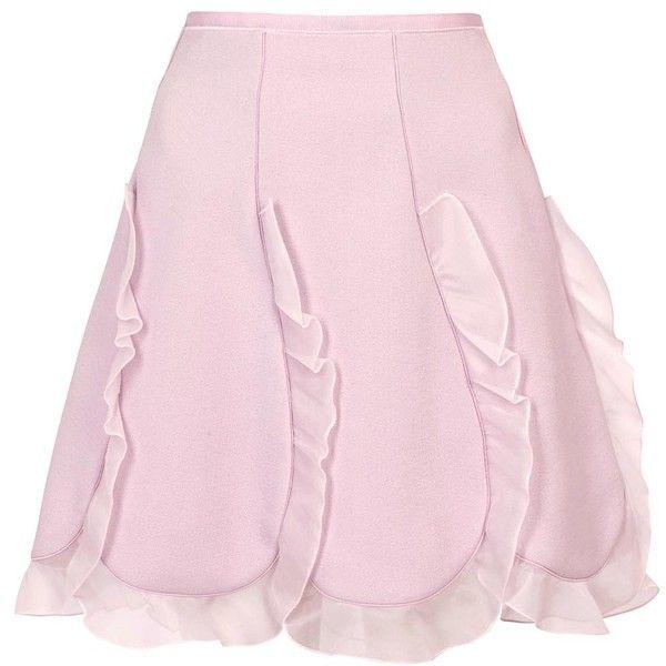 Womens Mini Skirts Giambattista Valli Lilac Ruffled Crepe And Organza... (6.275 RON) ❤ liked on Polyvore featuring skirts, mini skirts, short pink skirt, petal skirt, pink frilly skirt, frilly skirt and lilac skirt