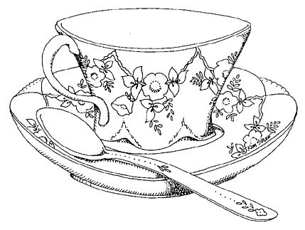 Tea Cup with Spoon Drawing