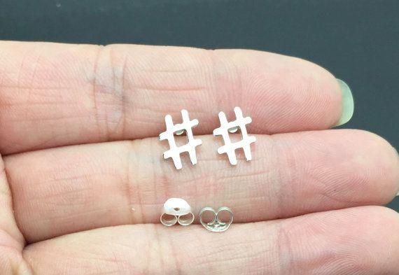 Sterling zilveren oorbellen, zilveren Hashtag Stud Oorbellen - Twitter oorbellen - Hash symbool hengsten - Sterling Zilver, kraakbeen, helix