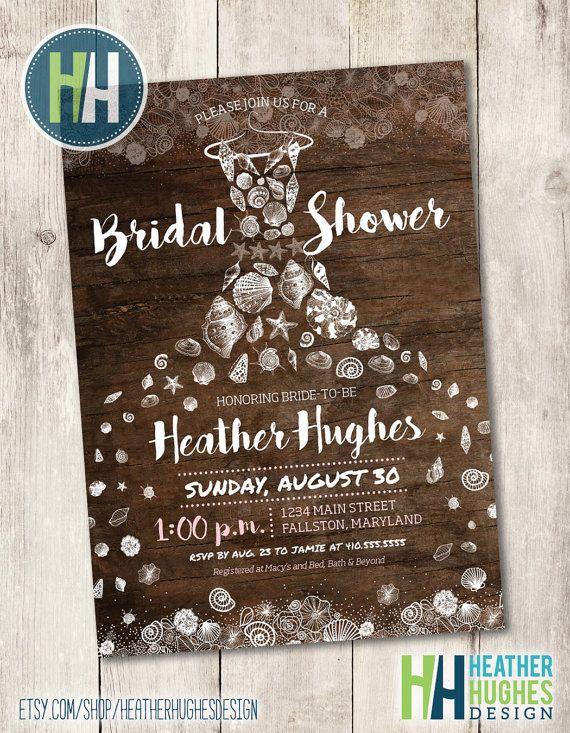 rustic beach bridal shower invite printable by HeatherHughesDesign