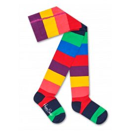 Make sure their outfit is cool and colorful right down to their toes with our kids Stripe tights. This bold, bright style features rainbow-colored stripes in green, navy blue, red, coral pink, blue, purple and yellow covering the whole pair of comfortable cotton tights, with a contrasting navy blue heel and toe. Available in sizes for 6-12 months, 12-18 months and 18-24 months.