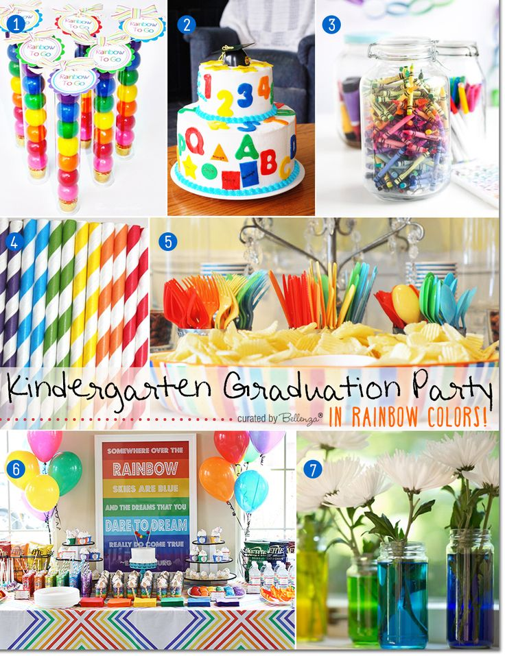 Fun Ideas for a Kindergarten Graduation Party in Rainbow Colors. Features a colorful inspiration board of decor, favors, party supplies, cake, and more on the Party Suite at Bellenza. #kindergartengraduation