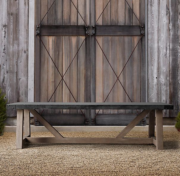 French beam concrete teak rectangular dining table for Restoration hardware outdoor dining