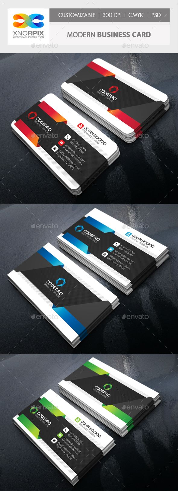 #Modern #Business Card - #Corporate Business #Cards Download here: https://graphicriver.net/item/modern-business-card/18266124?ref=alena994