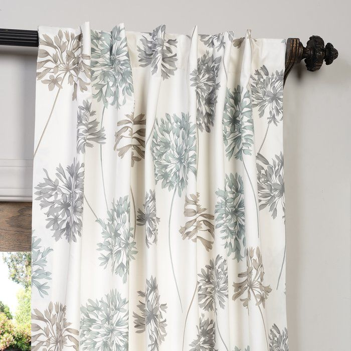 Allium Printed Cotton Nature Floral Rod Pocket Single Curtain Panel Panel Curtains Curtains Floral Curtains