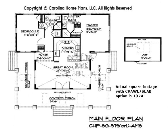Small stone craftsman bungalow house plan chp sg 979 ams for Affordable bungalow house plans