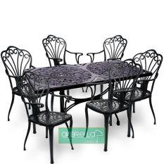 Siyah büyük boy altı kişilik döküm alüminyum masa sandalye takımı bahçe ve yeme içme ortamınızda şık bakım istemeyen uzun ömürlü doğal görünümüyle göz dolduruyor, Akbrella online satış sitemizde kredi kartınızla satın alabilirsiniz.