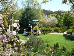 Redbrow Garden in Murrumbateman has a lovely waterside garden for ceremonies and photos. BYO caterer and stay on for your reception.