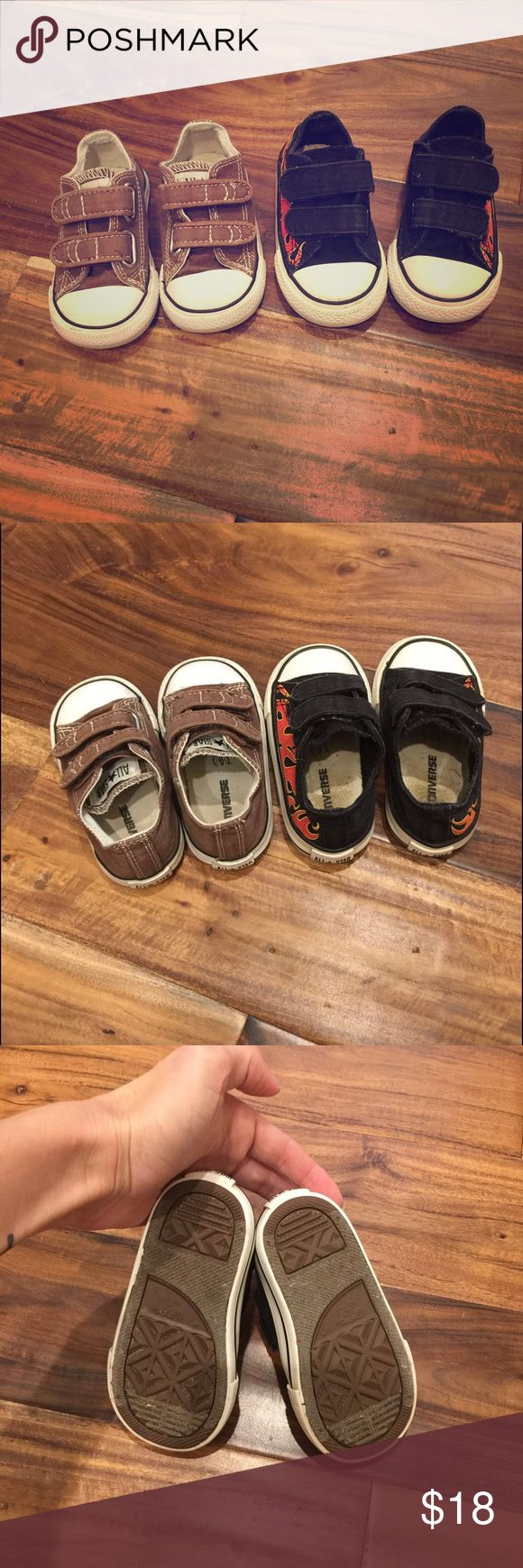 Boys Converse black with flames and brown toddler boys black converse with flames and brown converse. EUC, we love these, easy to put on and off your little one, velcro straps instead of laces Converse Shoes Sneakers