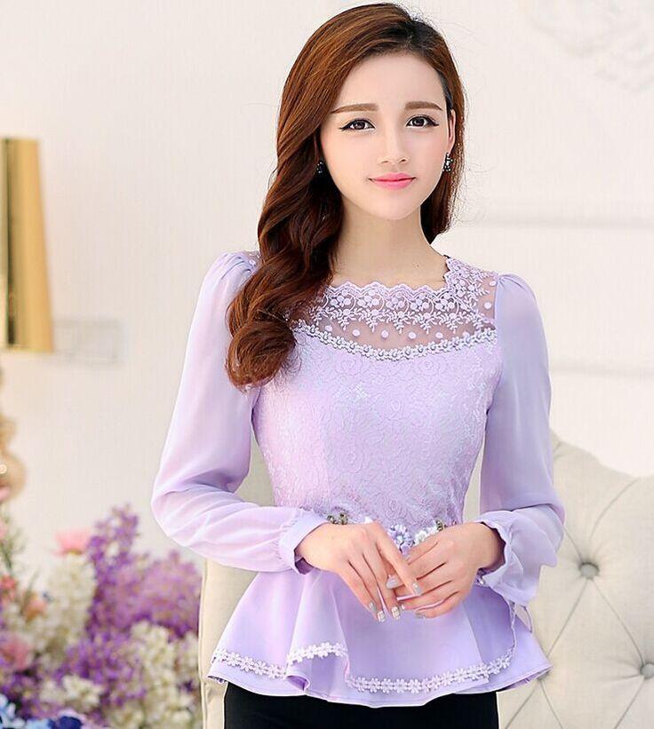 Temperament Ladies Purple Chiffon shirt 2016 Spring Flower Women Tops Lace Blouses Slim Elegant Ruffles Shirts Plus size XXL