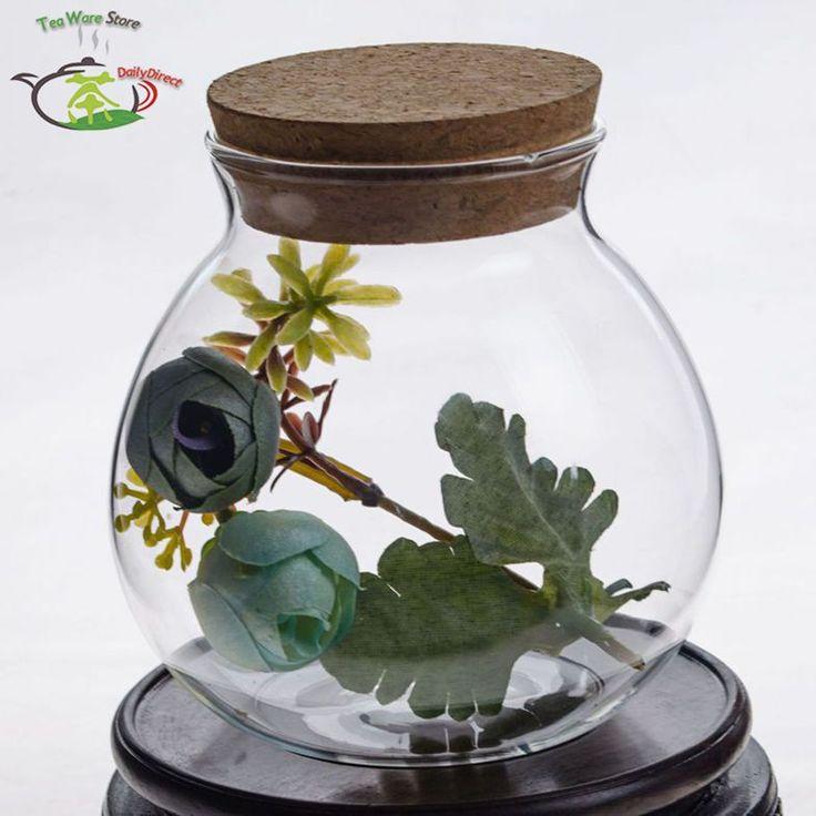 6 шт./лот 16.9fl.oz / 500 мл ручной тепло-типа жаростойкий стекло цветок кэдди канистра ж / деревянная(China (Mainland))
