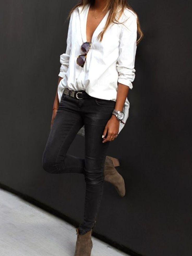 {Boulot} Une chemise piquée à Monsieur, un jean slim-noir et une paire de…