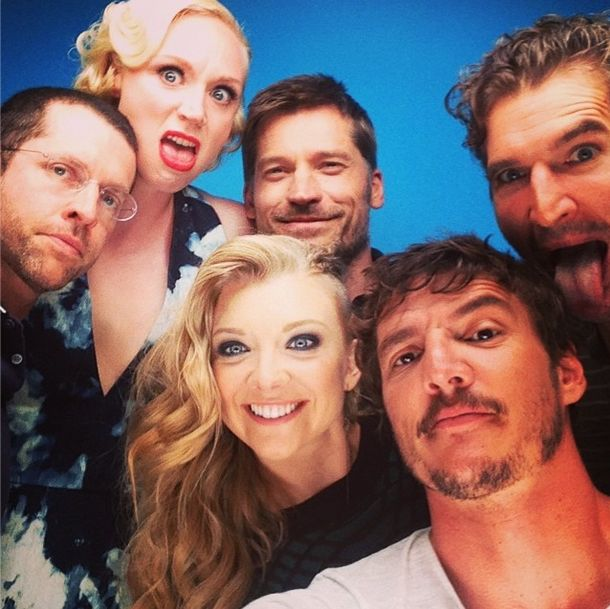 D.B. Weiss, Gwendoline Christie, Nikolaj Coster-Waldau, Natalie Dormer, Pedro Pascal, and David Benioff at San Diego Comic Con 2014