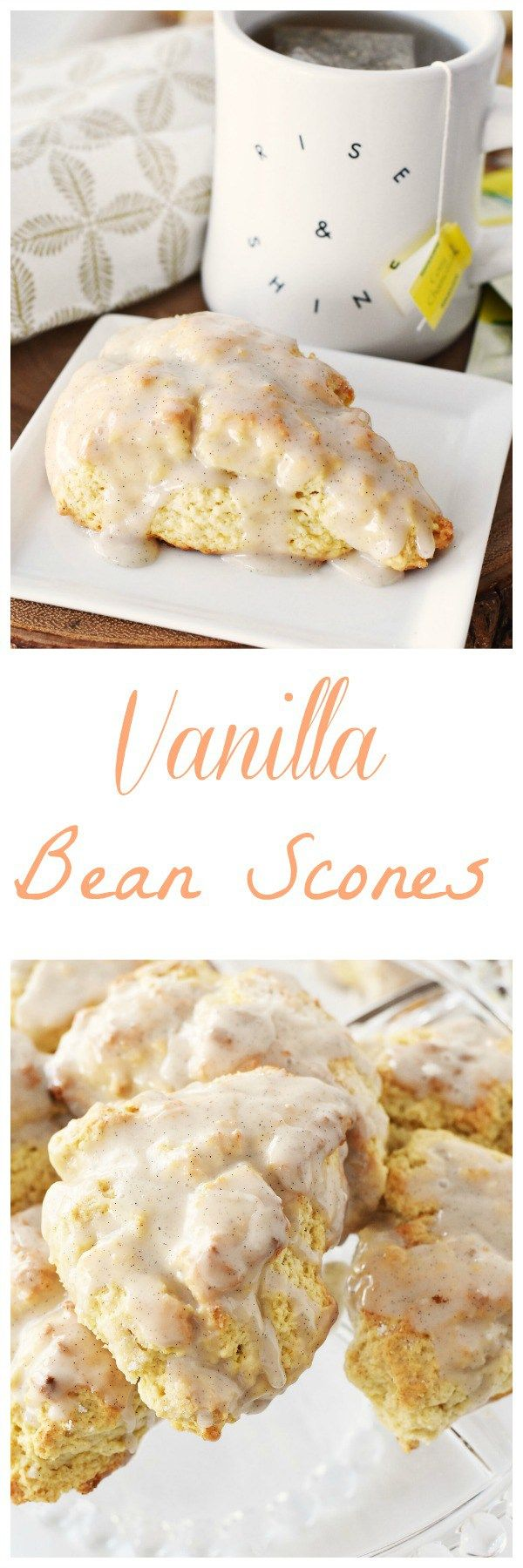 Vanilla Bean Scones anyone? Get this perfectly sweet and moist vanilla bean scone recipe today. the glaze reminded my kids of vanilla ice cream. Pairs perfectly with tea as well! AD #TeaProudly @walmart