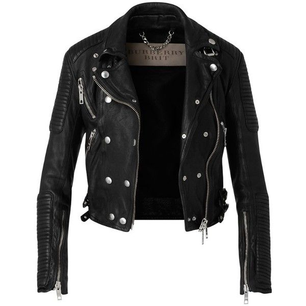 Burberry Washed Leather Biker Jacket (£1,745) ❤ liked on Polyvore featuring outerwear, jackets, leather jacket, tops, leather rider jacket, quilted moto jacket, leather biker jacket, genuine leather biker jacket and shiny jacket