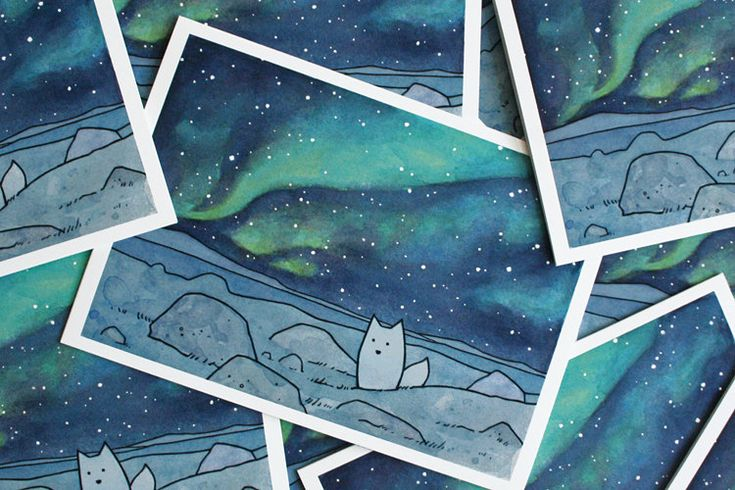 Northern Lights Christmas Card Set with Arctic Fox. $20.00, via Etsy.
