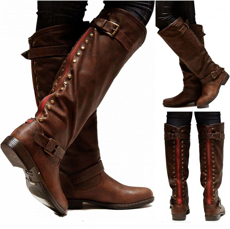 Details About New Women Fmo11 Tan Red Zipper Riding Knee