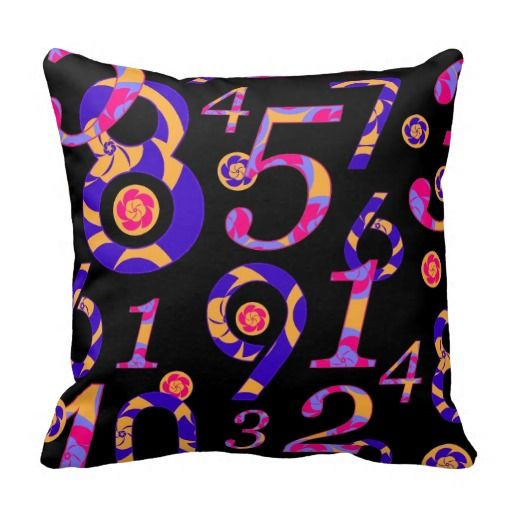 Numbers on Black Pillow